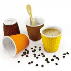 Gobelet Espresso x 4 - Porcelaine / Silicone - 10 cl - Nid d'Abeille Soft - LES ARTISTES - Tasse / Mug - DE-550039