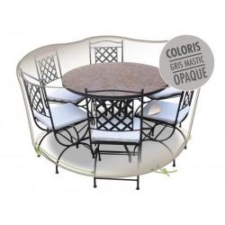 Housse pour table ronde - Gris Mastic - JARDILINE - Protection mobilier jardin - DE-603969