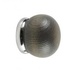 Embout de barre x 2 - Métal / Bois - Chêne brûlé - Boule - D 28 mm - MOBOIS - Accessoires rideaux - DE-512583