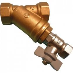 Filtre à tamis avec robinet de rinçage - Laiton - Femelle 15 x 21 mm - SFERACO - Clapet anti-retour et filtre à tamis - SI-16...