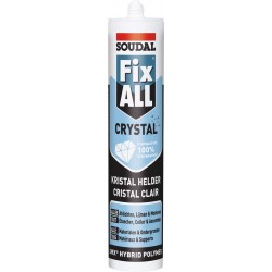 Mastic colle MS polymères - Translucide - Fix ALL Crystal - 290 ml - SOUDAL - Mastic de fixation - SI- 396656