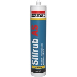Mastic sanitaire - Silicone acétique - Silirub AS - Translucide - 300 ml - SOUDAL - Mastic sanitaire - SI-164759