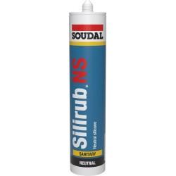 Mastic sanitaire - Silicone monocomposant élastique - Silirub NS - Translucide - 300 ml - SOUDAL - Mastic sanitaire - SI-164757