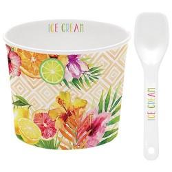 Coupelle à glace et cuillère - Porcelaine - Tropical Orange - EASY LIFE - Assiette / plat / plateau / coupelle - DE-429381