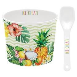 Coupelle à glace et cuillère - Porcelaine - Tropical Vert - EASY LIFE - Assiette / plat / plateau / coupelle - DE-428558