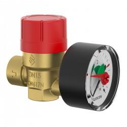 Soupape de sécurité avec manomètre - Prescomano - 15 x 21 mm - FLAMCO - Manomètres - SI-155515