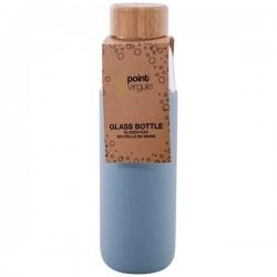 Bouteille en verre / Silicone / Bambou - Bleu Brouillard - 580 ml - POINT VIRGULE - Carafe / Bouteille - DE-501925