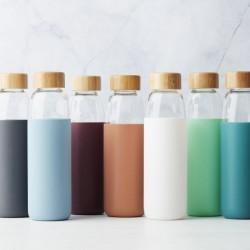 Bouteille en verre / Silicone / Bambou - Gris foncé - 580 ml - POINT VIRGULE - Carafe / Bouteille - DE-501157