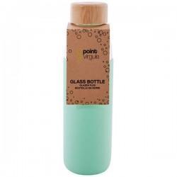 Bouteille en verre / Silicone / Bambou - Vert Menthe - 580 ml - POINT VIRGULE - Carafe / Bouteille - DE-501917