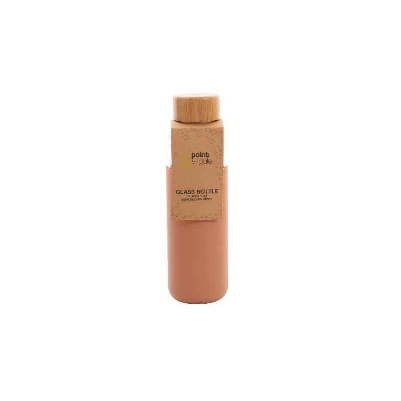 Bouteille en verre / Silicone / Bambou - Cuivre - 580 ml - POINT VIRGULE - Carafe / Bouteille - DE-528571
