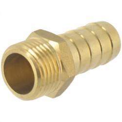 Embout 6 pans droit en laiton cannelé Mâle - ⌀ 15 mm - 20 x 27 mm - CAP VERT - Raccords cannelés - BR-588764