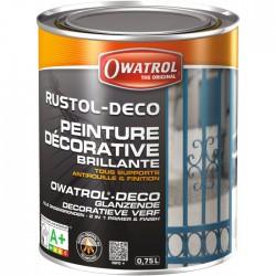 Peinture décorative brillante - Antirouille et finition - Blanc - 750 ml - OWATROL - Antirouille - BR-536563