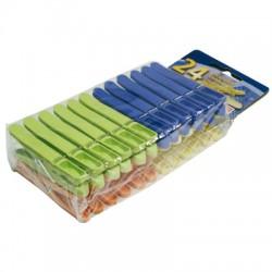 Lot de 24 pinces à linges en plastique multicolores - LAGUELLE - Séchage du linge - BR-024563