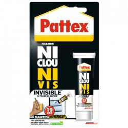 Ni Clous Ni Vis - Invisible - Prise immédiate - 40 ml - PATTEX - Mastic de fixation - BR-306824