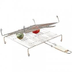 Grille barbecue double avec poignée - 35 cm - Accessoires Barbecue - BR-307902