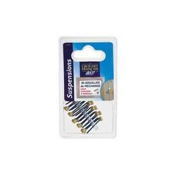 Aiguilles pour Crochet à clouer en laiton - Lot de 20 - Crochet et support adhésif - DE-311514