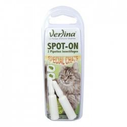 2 Pipettes anti-puces spot-on chat- VERLINA - Hygiène et entretien animaux - DE-450859