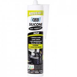 Mastic silicone pour joint sur tous supports sanitaires Cartouche - 280 ml - Noir - Mastic sanitaire - BR-043118