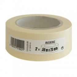 Adhésif de masquage lisse - Lot de 2 - 50 m x 25 mm - Ruban masquage / protection - BR-144510