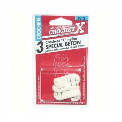 Crochet béton nylon - n°2 - lot de 4 de CROCHET X - Crochet et support adhésif - DE-865501