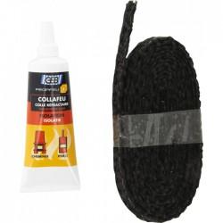 Kit tresse plate en fibre de verre 10 mm - Propfeu + Colle Collafeu - GEB - Étanchéité / Isolation - BR-293520