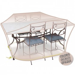 Housse de protection - Table + chaises 4/6 pers - Gris mastic - MOREL - Protection mobilier jardin - BR-960346