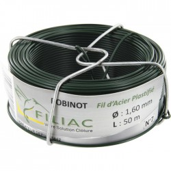 Bobinots fil attache - Acier galvanisé plastifié - Vert - 50 M * 1.6 mm - FILIAC - Fils d'attache grillage - BR-419566