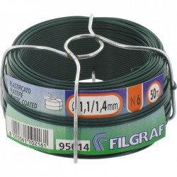Fil d'attache grillage - Plastifié vert - 50 m - ⌀ 1.4 mm - FILGRAF - Fils d'attache grillage - BR-311581