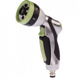 Pistolet arrosage - Pomme aluminium - 7 positions - Bi-matière - CAP VERT - Pistolets / Lances arrosage - BR-098154