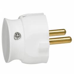 Fiche plastique 2P 16A extra-plate à sortie latérale - Blanc - LEGRAND - Prises / Fiches / Adaptateurs - BR-100426