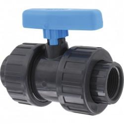 Vanne PVC taraudée - Femelle / Femelle - 20 x 27 mm - CAP VERT - Vannes et robinets - BR-564220