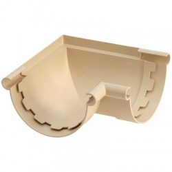 Angle gouttière demi-ronde à coller mixte - ⌀25 mm - Sable - GIRPI - Raccords PVC pour gouttière - BR-189569