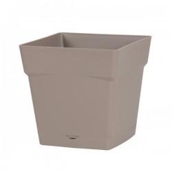 Pot à fleur carré - soucoupe clipsée réserve d'eau - Gamme Toscane - 10.2 L - Taupe - EDA - Pots carrés - BR-315551