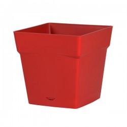 Pot à fleur carré - soucoupe clipsée réserve d'eau - Gamme Toscane - 10.2 L - Rubis - EDA - Pots carrés - BR-315552