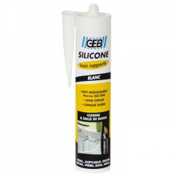 Mastic silicone - tous supports sanitaires - Blanc - 280 ml - GEB - Mastic sanitaire - BR-757667