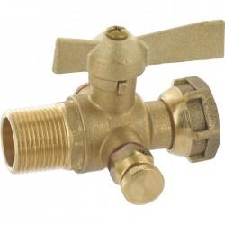 Vanne d'arrêt à purge - Avant ou après compteur - Filetage mâle 20 x 27 - Vannes et raccords robinets - BR-619655