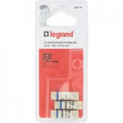 Cartouche domestique cylindrique - 25 A - 10.3 x 31.5 mm - Lot de 3 - LEGRAND - Fusibles - BR-826677