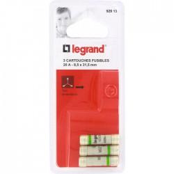 Cartouche domestique cylindrique - 20 A - 8.5 x 31.5 mm - Lot de 3 - LEGRAND - Fusibles - BR-826669