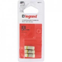 Cartouche domestique cylindrique - 10 A - 8.5 x 23 mm - Lot de 3 - LEGRAND - Fusibles - BR-826642